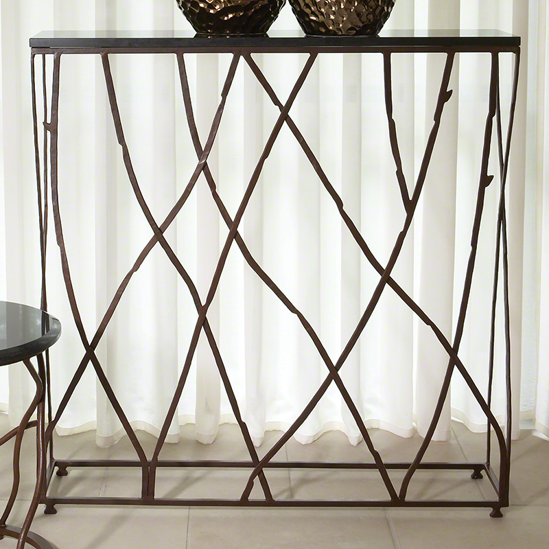 Branch Console Table - Inspired by twigs in nature, this console has captured branches in a frame topped with granite for a functional sculptural element to your interior. Size 36″ x 36″ x 8″ D