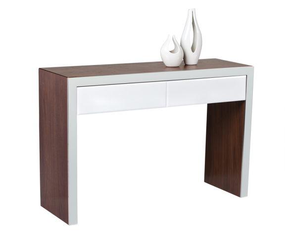 Lauderdale Desk/console - A contemporary console framed in solid American walnut veneer with stainless steel borders for a touch of modern sophistication. Features two soft closing drawers in a chic high gloss white finish Size: 47″ L x 15″ D x 31″ H