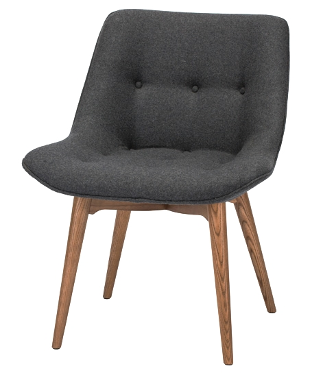 Brie Chair - Available in dark grey fabric or black / ash stained walnut