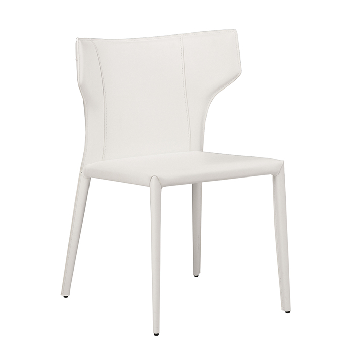Wayne Chair - Top grain leather, metal soul, curved back for more support. Available in stainless steel legs or wrapped on leather.Colors: Black, Mink, White, Gray.