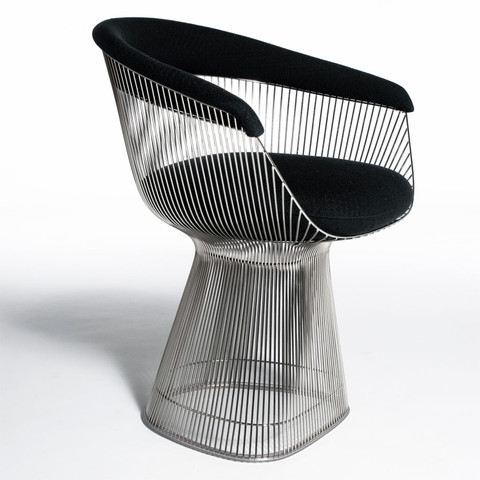 Strand Dining Chair - Elegant nickel plated metal rod dining chair with wool boucle cushion. Also now available with plated gold frame or painted matte black frame.Wool available in charcoal or black