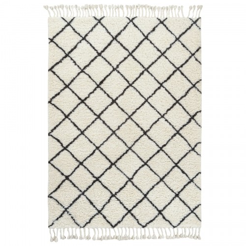 Kenza Rug - Table tuft - Wool & cotton - Ivory & grey. Two Sizes: 5' x 8' / 8' x 10'