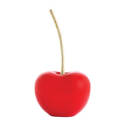Cherry Geordi Sculpture - These cherries in red, white, black and yellow lacquer with a bright brass etched stem are great stand-alone sculptures on your dining table or kitchen island... or sitting on top of a stack of books on your coffee table. Available in two sizes: 23