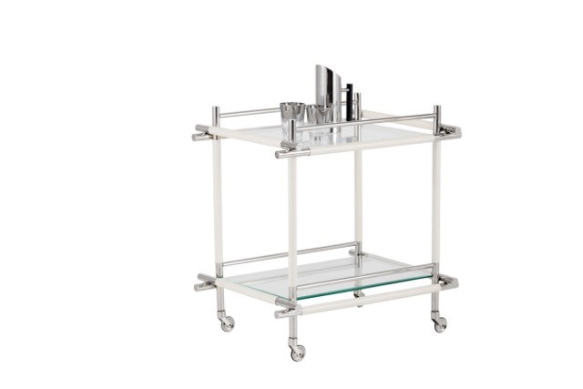 Stephanie Bar Cart - Stainless Steel frame, glass shelving for storage, off white bonded leather wraps and caster for easy mobility.Size; 23.50W x 30.00D x 31.00H in