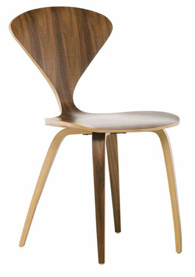 Satine Chair - American Walnut. Available in padded top grain leather and in natural or dark walnut.
