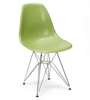 Eiffel Side Chair - The Eiffel Chair is a great example of functionality and form in one. With a strong yet flexible polypropylene seat, perfectly contoured for maximum comfort, the Eiffel Chair combines minimalist design with a perfect ergonomic shape. The profile is striking, combining bright colours with a graphic tower frame to create a look that is classic yet contemporary in any setting.Available in a metal or wooden base.