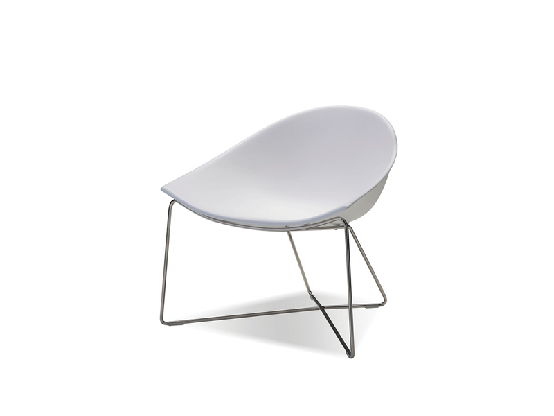 Paraiso Occasional Chair - The PARAISO seating is constructed from a heavy duty and hi tech solid surface and fibreglass. This allows for its beautiful seamless sloping shape. The legs are made from a SUS304 stanless steel which makes this chair suitable to even put outdoors.