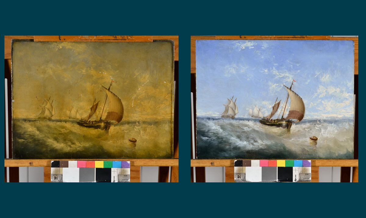 Vessels in a Breeze by Samuel Stubbs