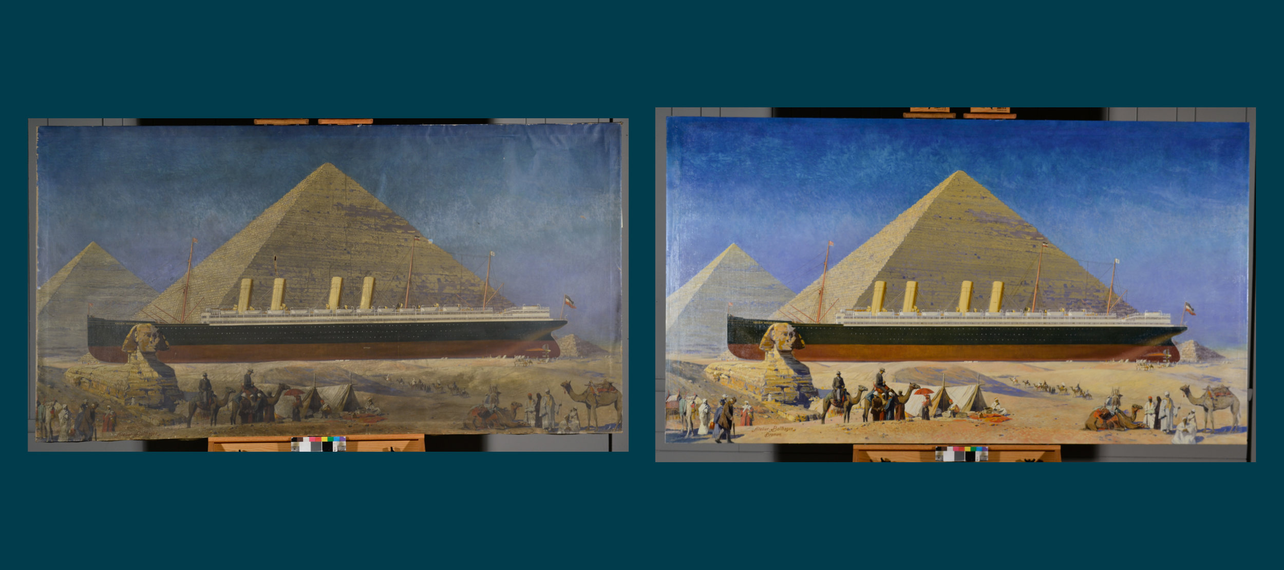 Before and After Treatment of the Steamship Kaiser Wilhelm II Among the Pyramids, By Atelier Otto Bollhagen