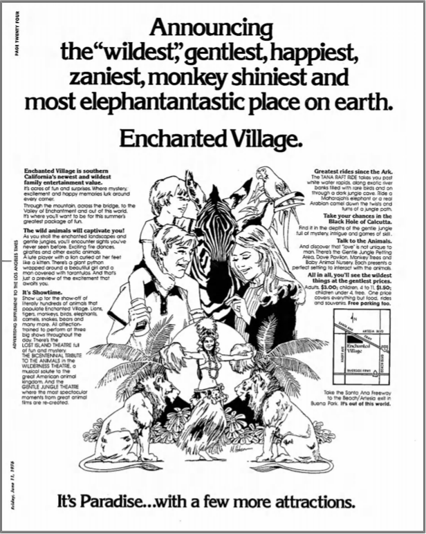 Enchanted Village ad in the LA Times