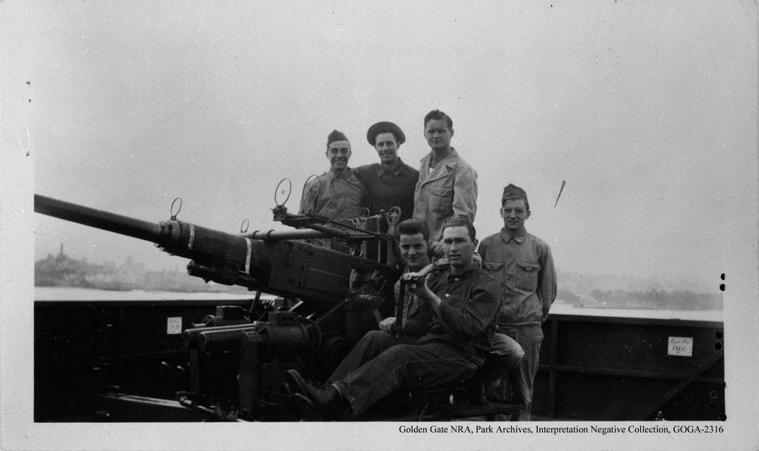 Crew with anti-aircraft gun, circa WWII