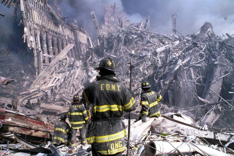 Image result for firemen run to ground zero