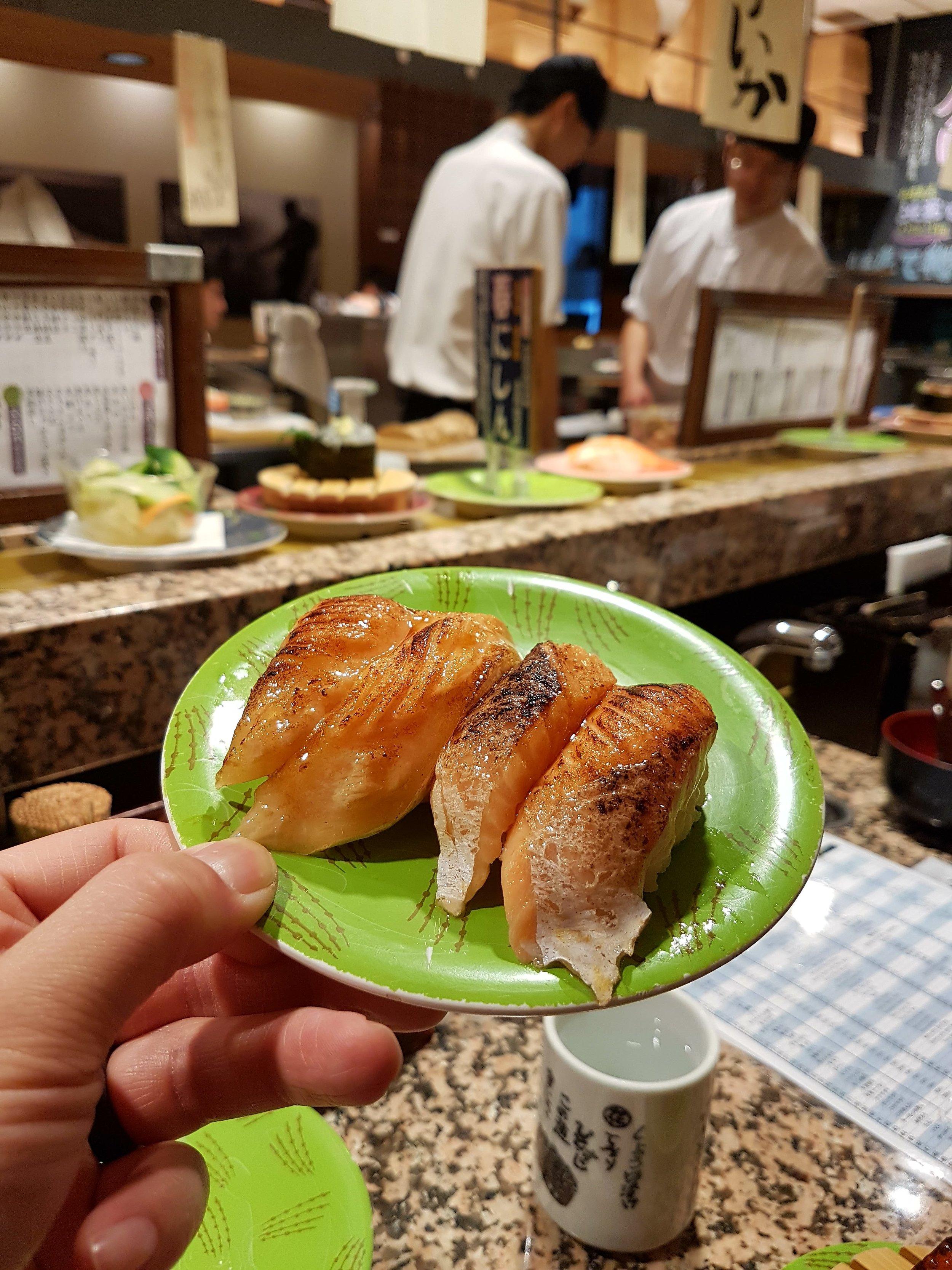 I love Aburi sushi especially at Conveyor Belt Sushi places!
