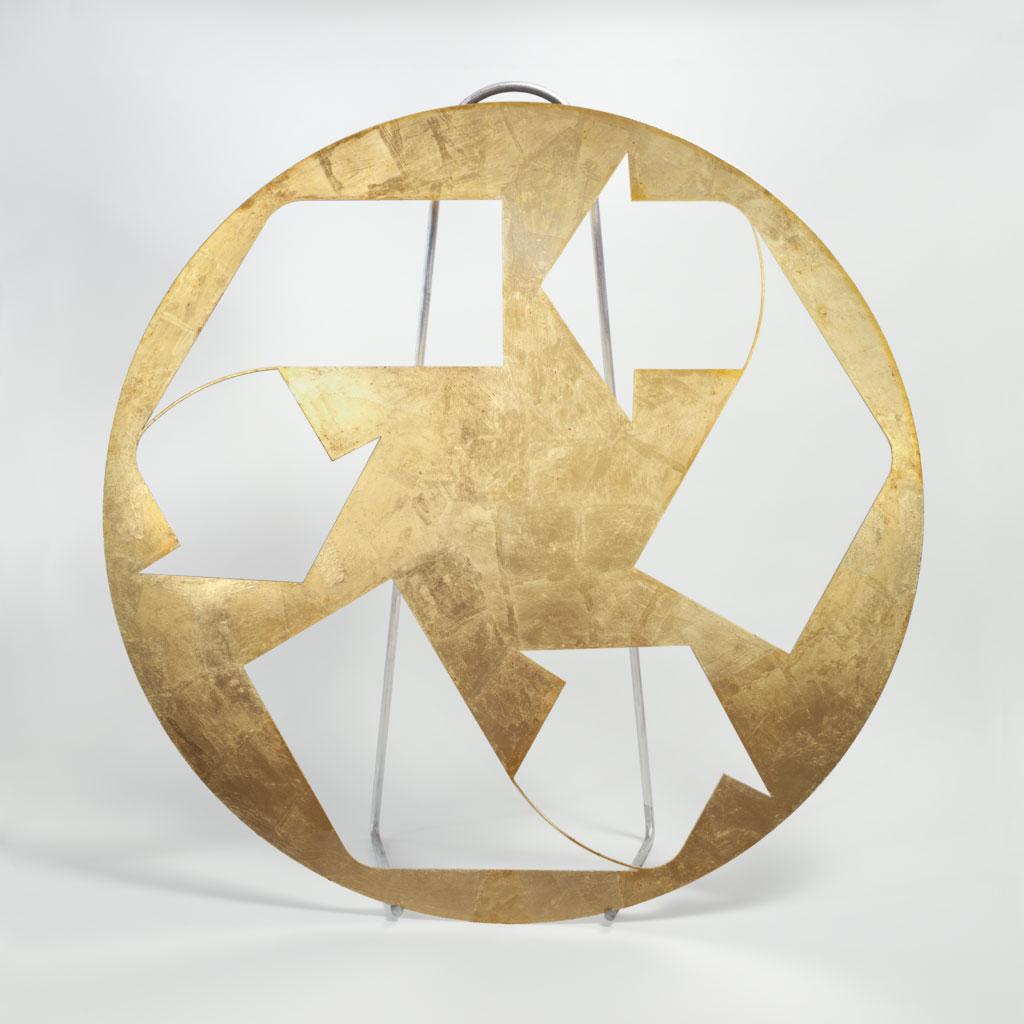 Kelley Walker,  Untitled , 2006, laser cut steel with digital print, 57 ½ inches in diameter x 1/8 inch