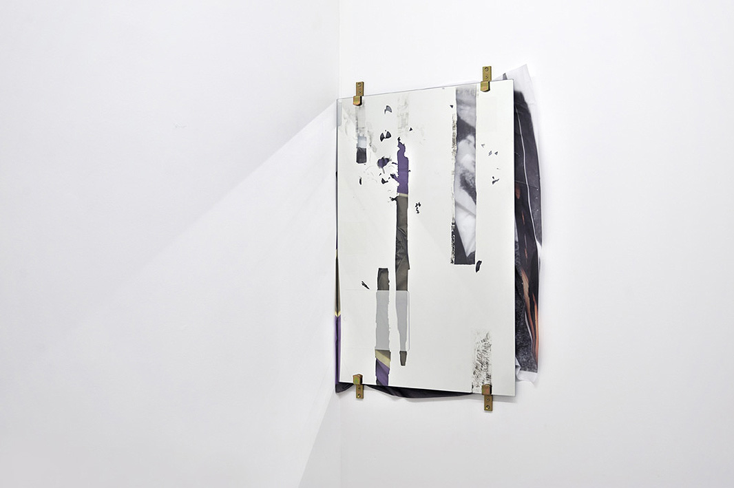 Valerie Snobeck,  Digital Dramatics Overt Distance , 2010, partially erased mirror, hardware, peeled prints on plastic, screen protectors