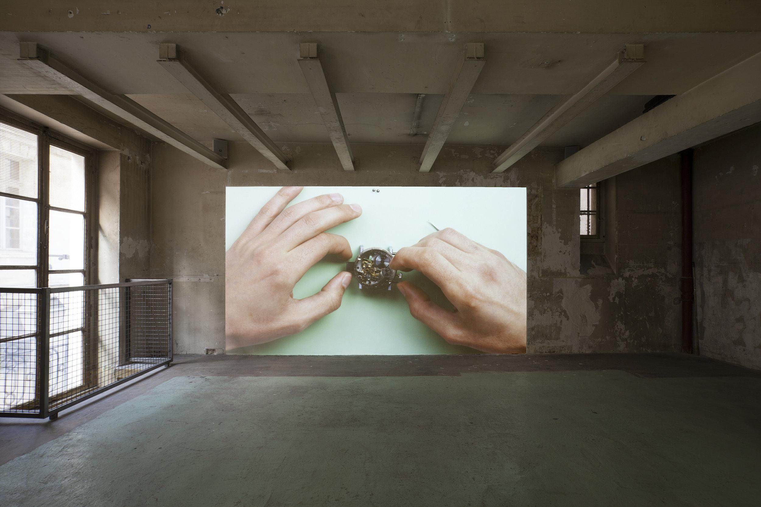 """Valerie snobeck,  Go Soft , 2014, 60 minutes, HD film, """"Faisons de L'inconnu un allié"""", 2016, Lafayette Anticipation, exhibition view"""