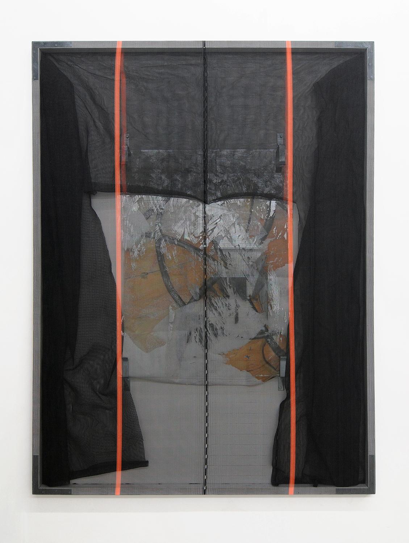 Valerie Snobeck,  Standard Extension , 2011,243,9 x 182,9, debris netting, partially removed mirror, peeled print on plastic, door barricade brackets, wood, gesso, hardware