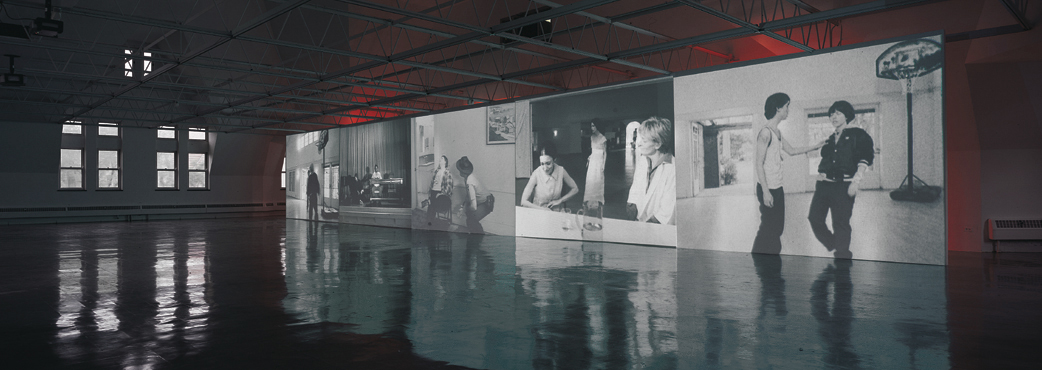 Catherine Sullivan,  The Big Hunt , 2002, 5 projections, B/W, no sound, 22 minutes each, installation view at The Renaissance Society at the University of Chicago, USA