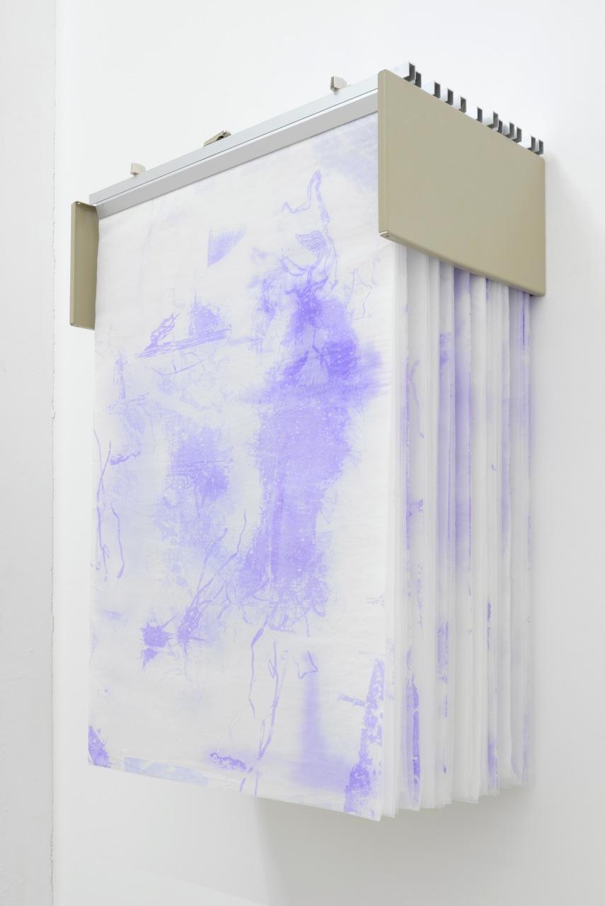 Valerie Snobeck & Catherine Sullivan,  Limited Good 8 , 2013, glassine hectograph prints in blueprint rack, 161,3 x 92,7 x 96,5 cm