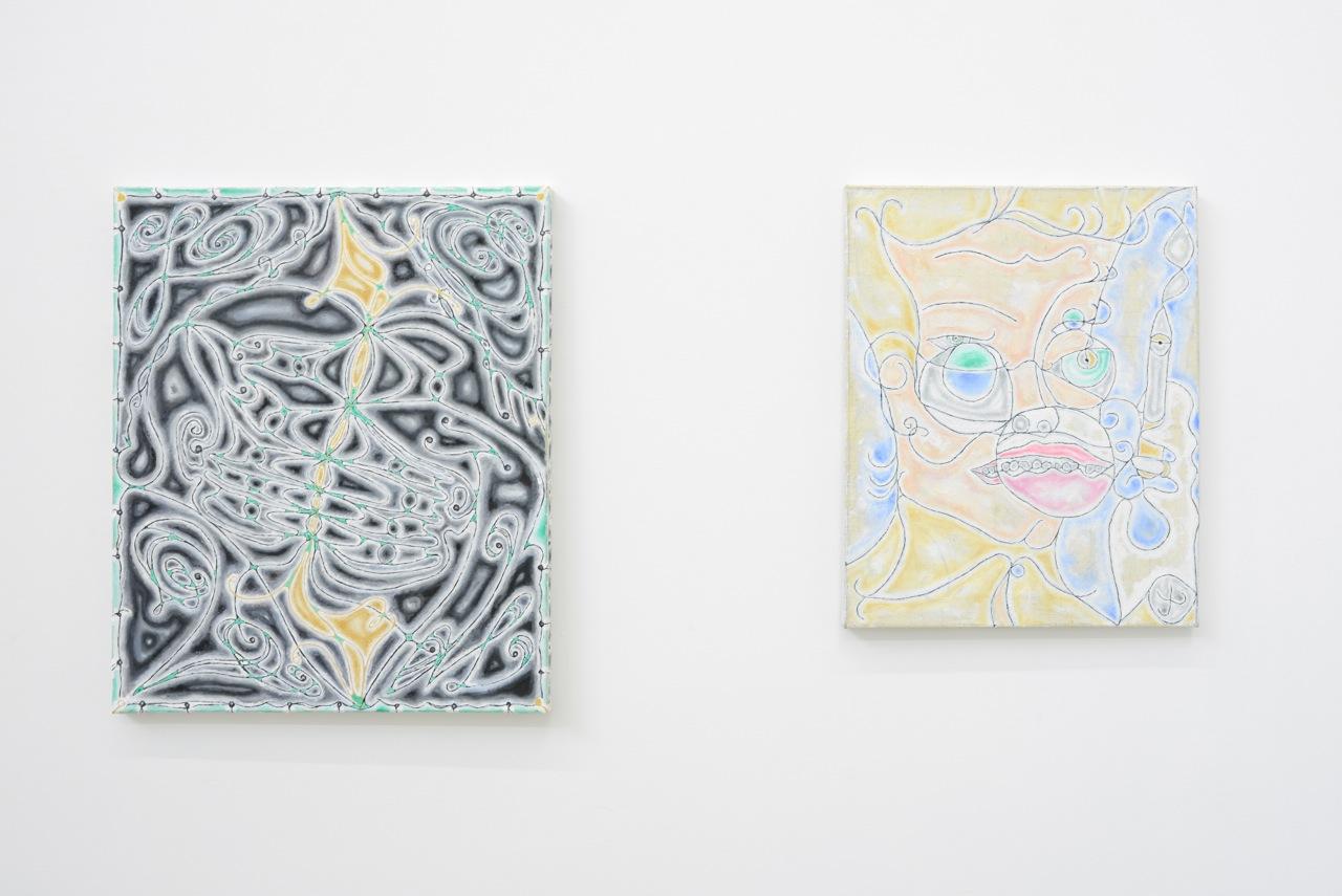 left : David Caille,  L.O.V.E. , 2014, huile sur toile, 55 x 46 cm  right :David Caille,  Ennivré , 2013/2014, huile sur toile, 46 x 38 cm