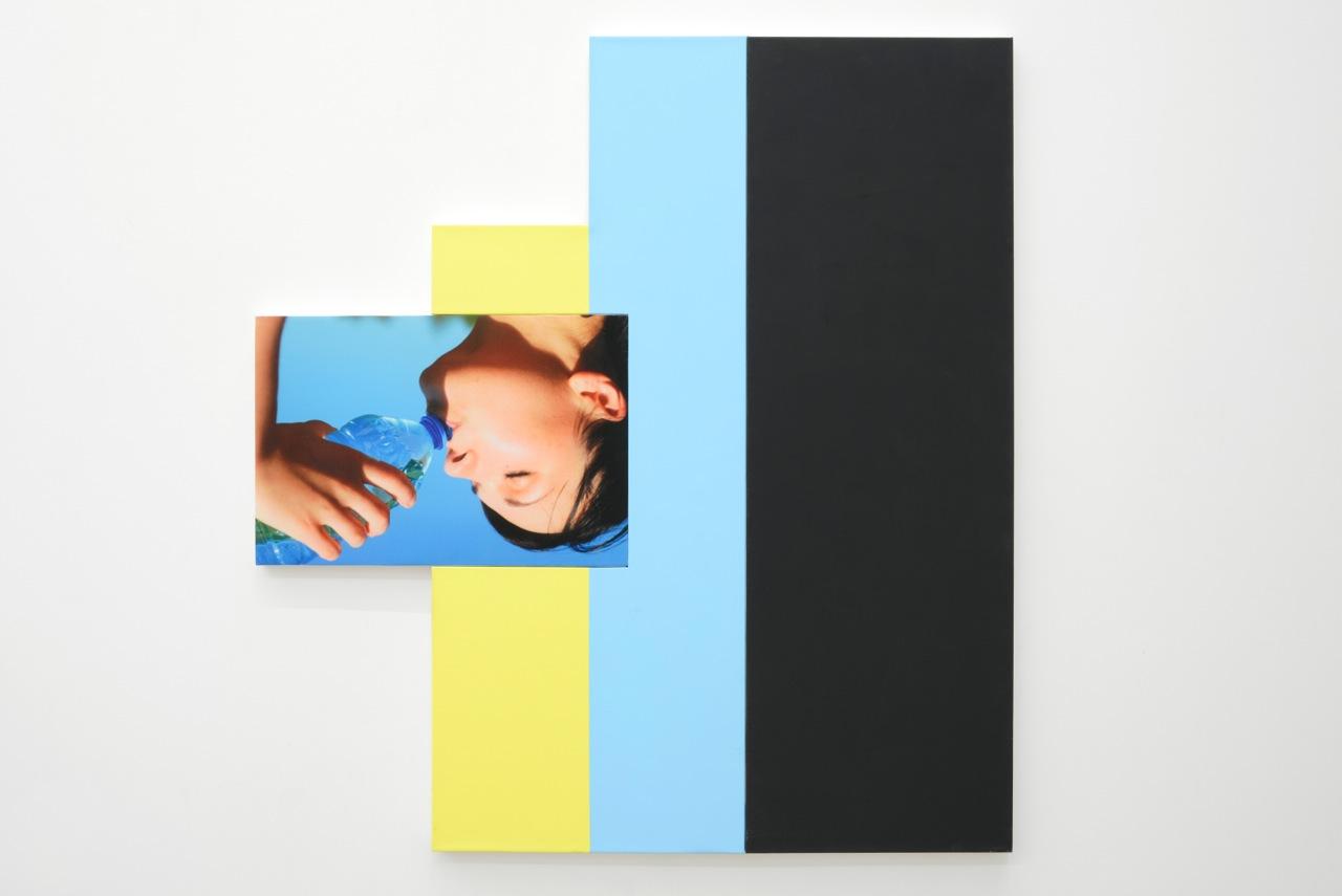 Julia Wachtel,  Acv2,4 ,2012, flashe on canvas, digital print on canvas, 117 x 108,5 cm