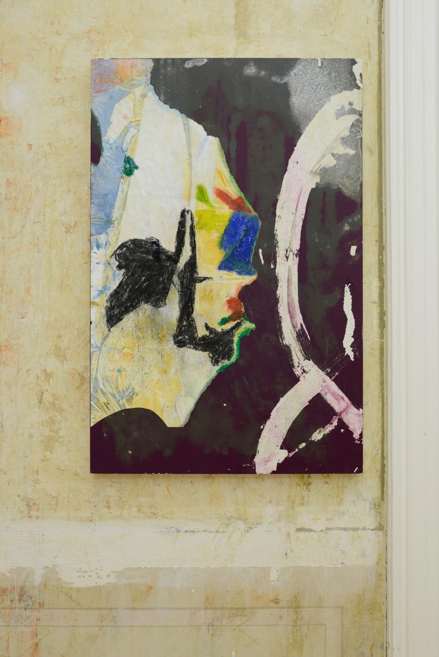 Henrik Olai kaarstein,  Shaky Hands , 2012, acrylic paint, acetone, pastels, charcoal, paper, drain cleaner gel, laminated fibreboard, 95 x 62 cm