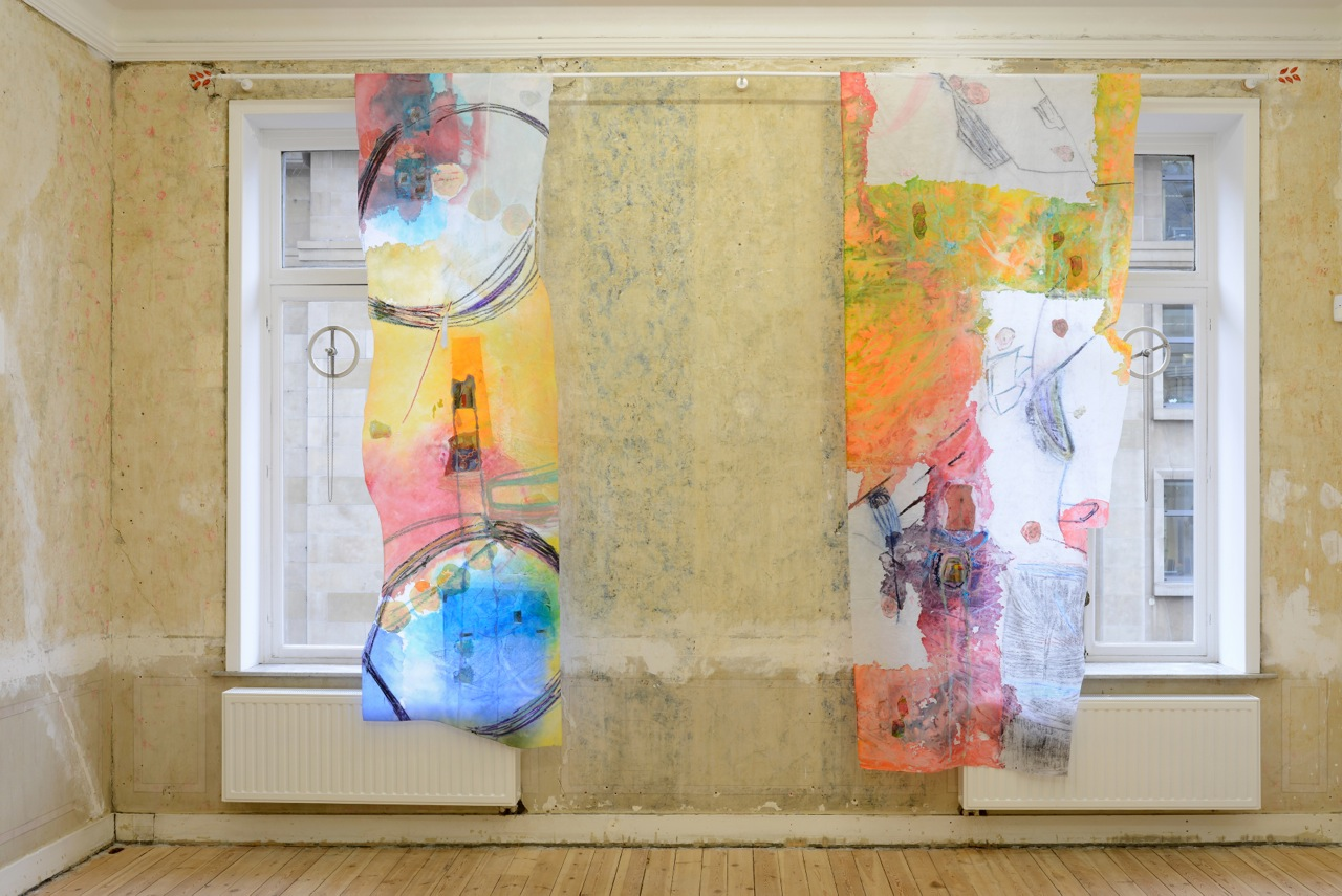 left :  Body. No, I mean yes. , 2014, acrylic paint, vinyl paint, iridescent medium, vinyl paint, glue, pastels, different types of paper,, synthetic fabric, 320 x 130 cm  right:  Holding and Cuddling and Being in Love and Fucking. , 2014, acrylic paint, vinyl paint, iridescent medium, glue, pastels, different types of paper, synthetic fabric, 305x90 cm
