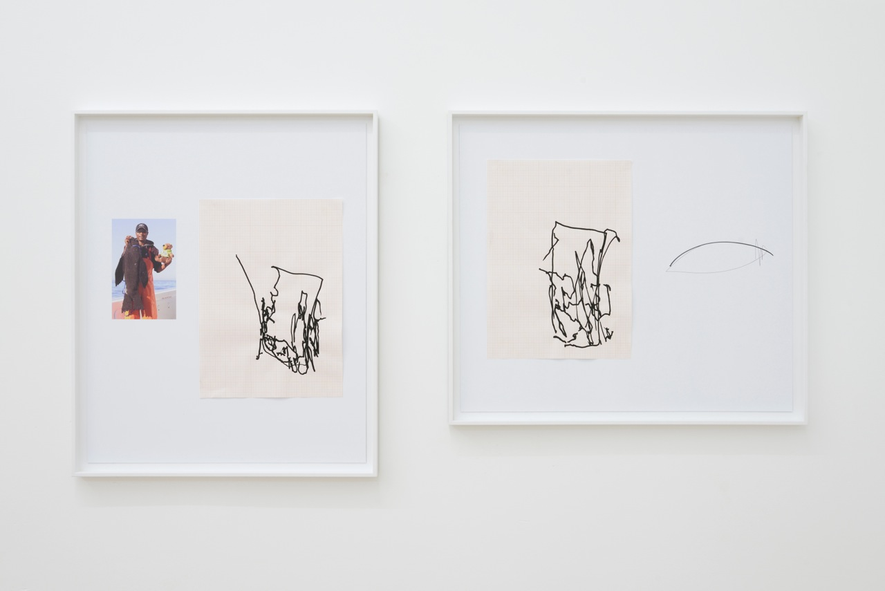 Left: Elbows drawings (Toast)  Right: Elbows drawings (Shoes)  Acrylic on graph paper, pencil and archival prints, 2014, 66cmx55cm