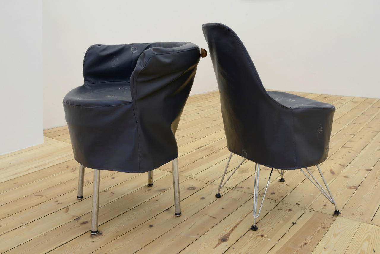 Nick Bastis,  When you don't find what you're look for, sleep,  2014, custom made vinyl chair covers, lithuanian snail slime, found gallery chairs, variable dimensions