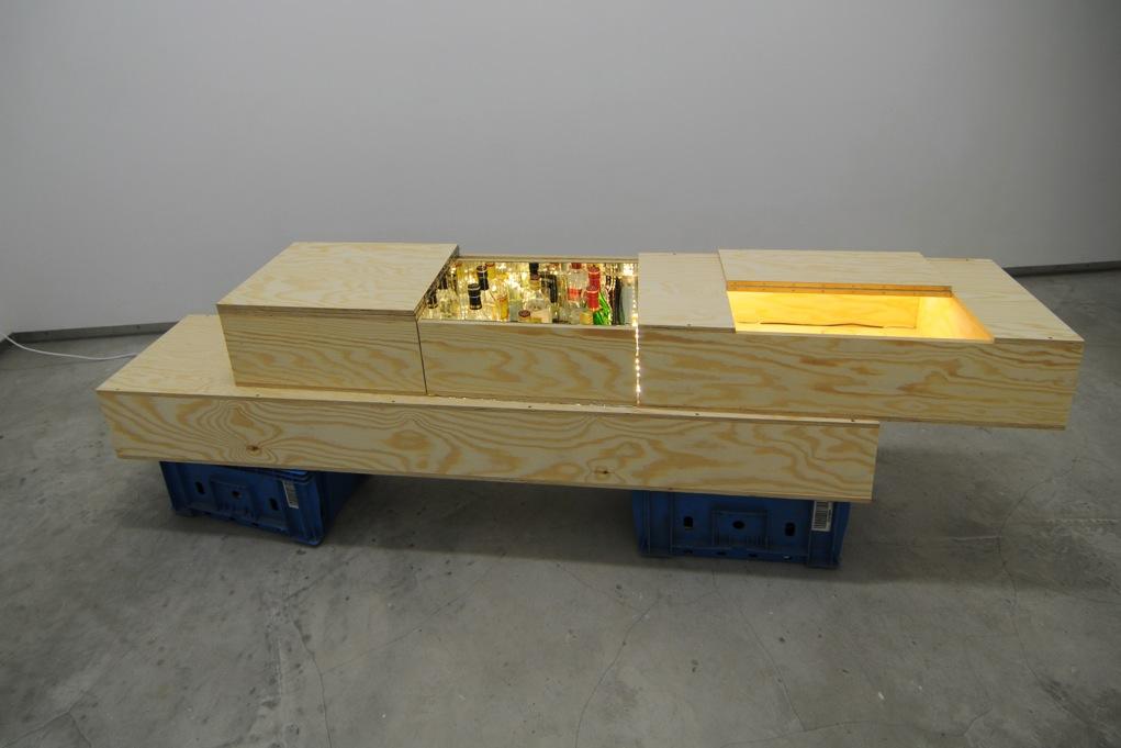 Manuel Burgener,  Untitled , 2012, plywood, hardware, glass, mirrors, light, spirits, glasses, sound system, 39 x 202,7 x 36,6 cm