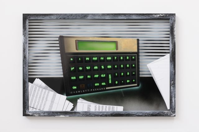 Florian Auer,  Not Yet Titled (Calculator 3),  2012, print, airbrush and mixed media on glass, frame, 63 x 93 cm