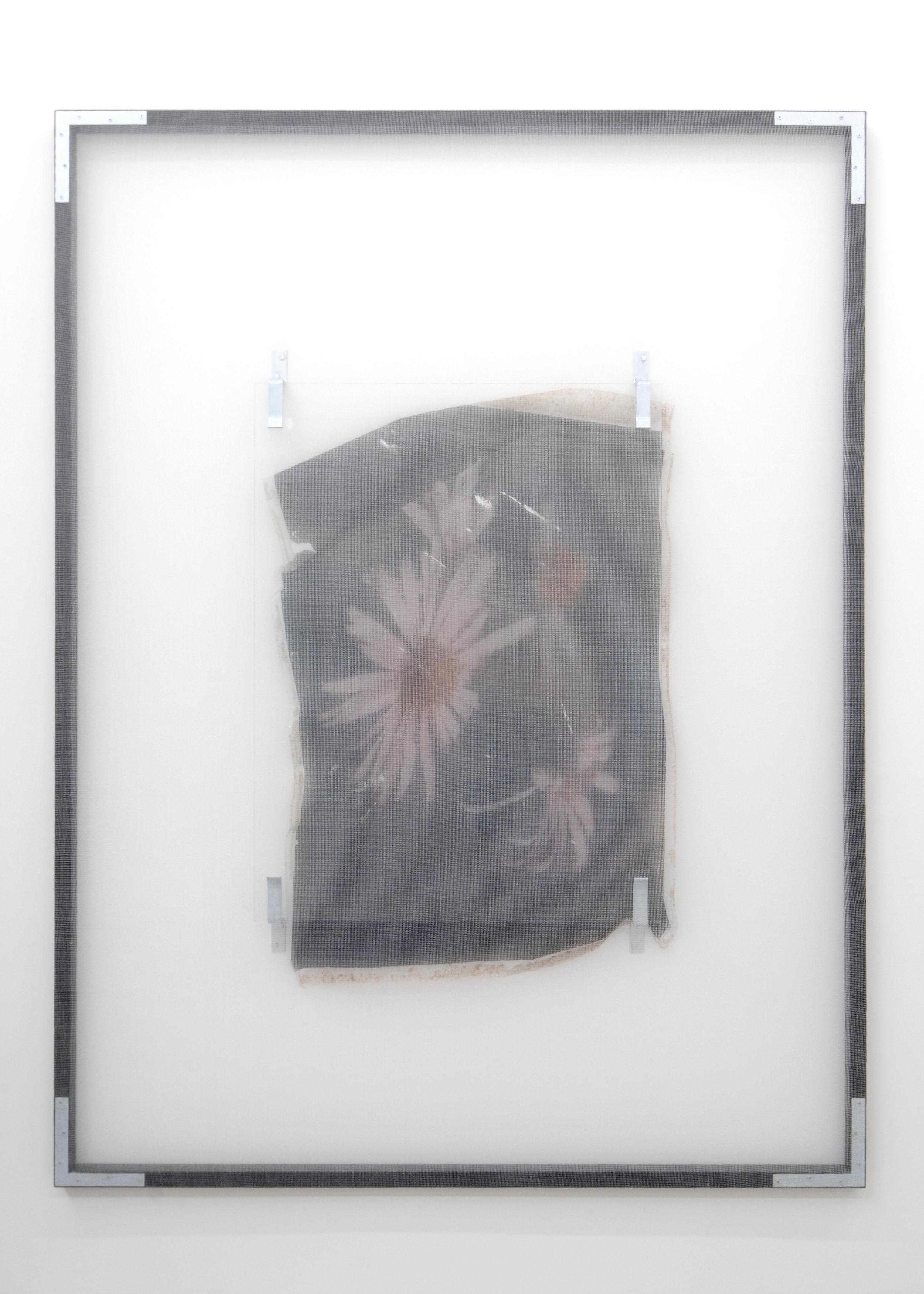 Patricia's Flower , 2013, debris netting, partially removed mirror, peeled print on plastic, door barricade brackets, wood, hardware, permanent marker, 244 x 183 cm