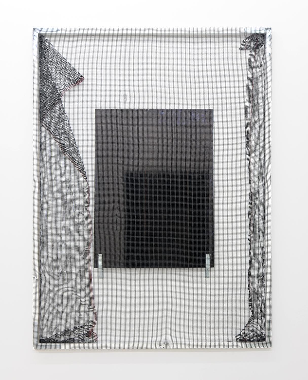 Valerie Snobeck, Continually Luxsense, 2011, debris netting, glass, peeled print on plastic, permanent marker, door barricade brackets, wood, gesso, hardware, 244 x 183 cm