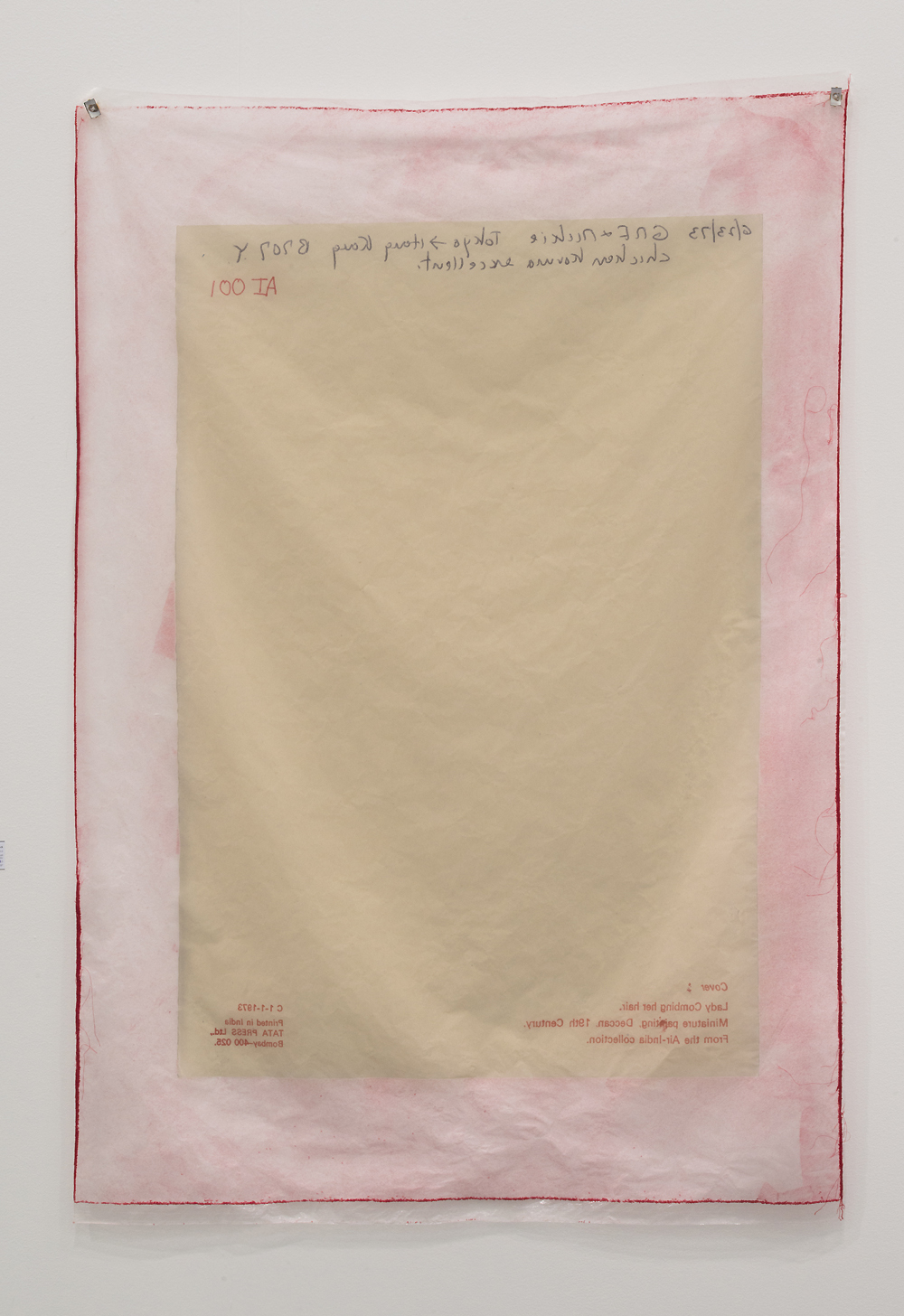 Valerie Snobeck / Catherine Sullivan,  Limited Good 1,  2013, peeled print and upholstery fabric on plastic, cufflinks, edition of 3, 56.5 x 39 inch