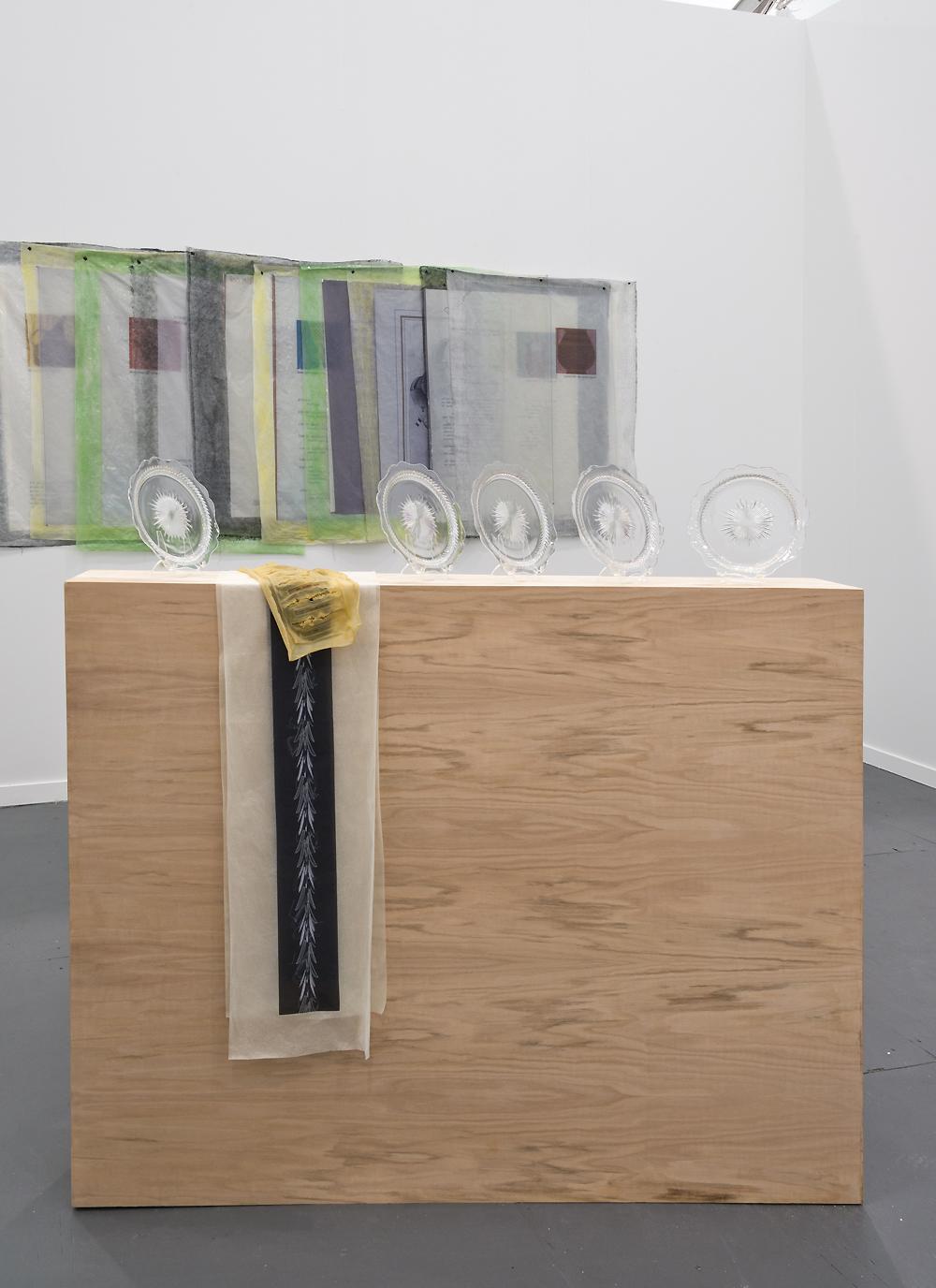Valerie Snobeck / Catherine Sullivan,  Limited Good 4 , 2013, depression glass, latex, wood, peeled print and felt on plastic, 56.5 x 60 x 8.5 inch