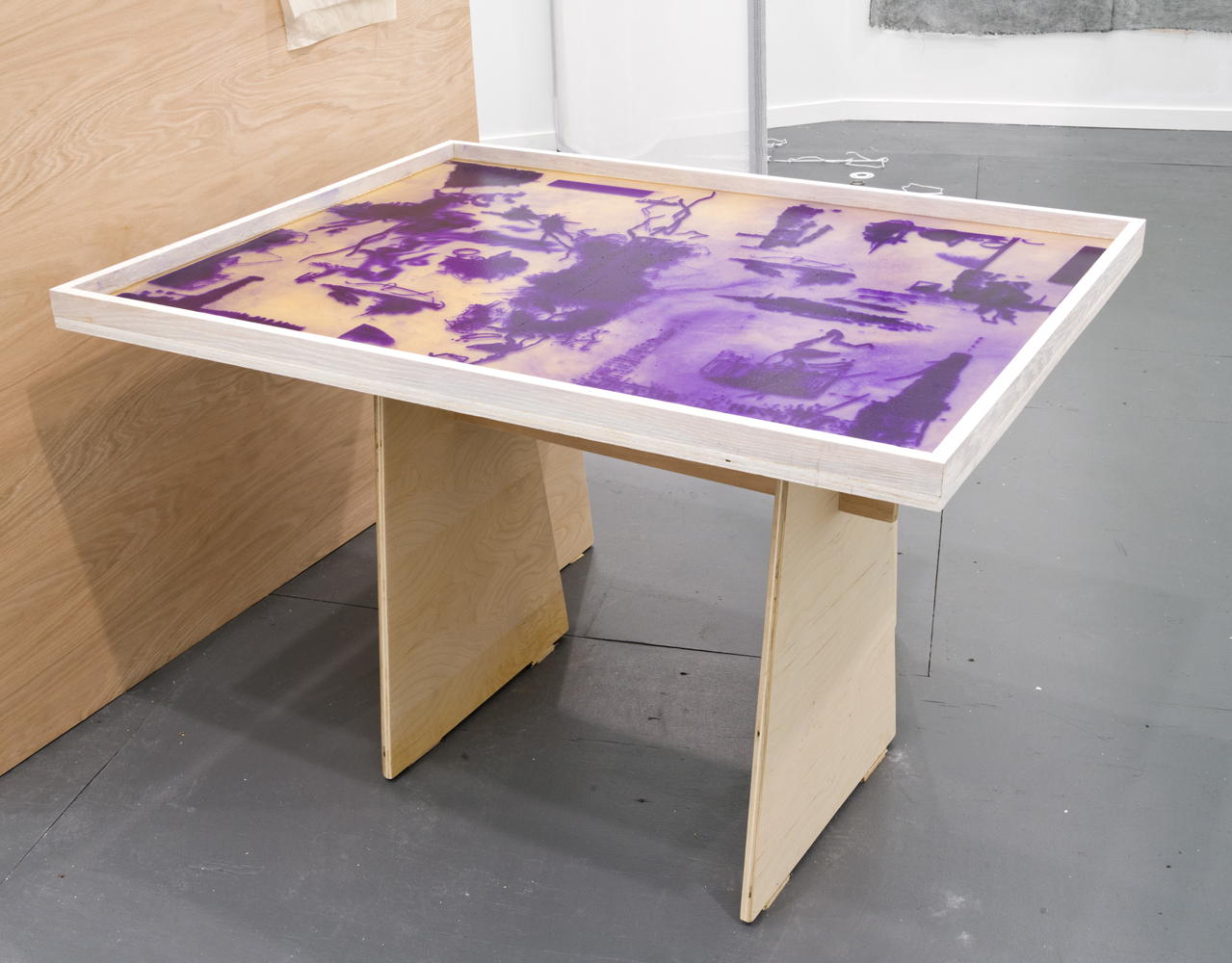 Valerie Snobeck / Catherine Sullivan,  Limited Good 5,  2013, wood, stain, hectograph duplication table, 31 x 38.5 x 50.5 inch