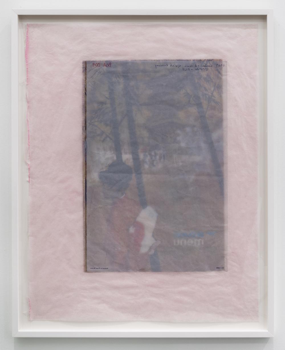 Valerie Snobeck / Catherine Sullivan,  Limited Good 6 , 2013, peeled prints and felt on plastic, 41 x 33 inch framed