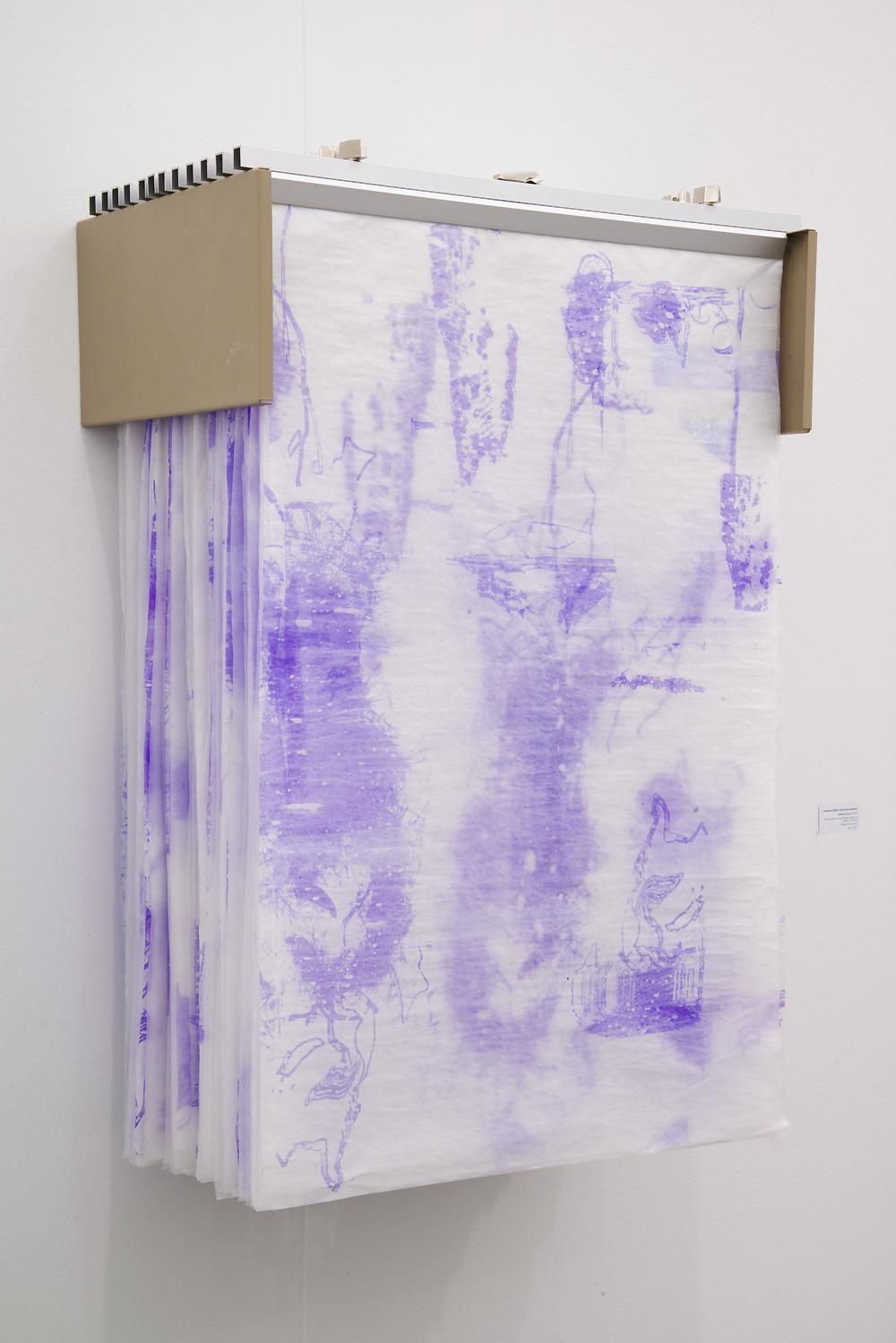 Valerie Snobeck / Catherine Sullivan,  Limited Good 8,  2013, glassine hectograph prints in blueprint rack, 36.5 x 63.5 x 38 inch