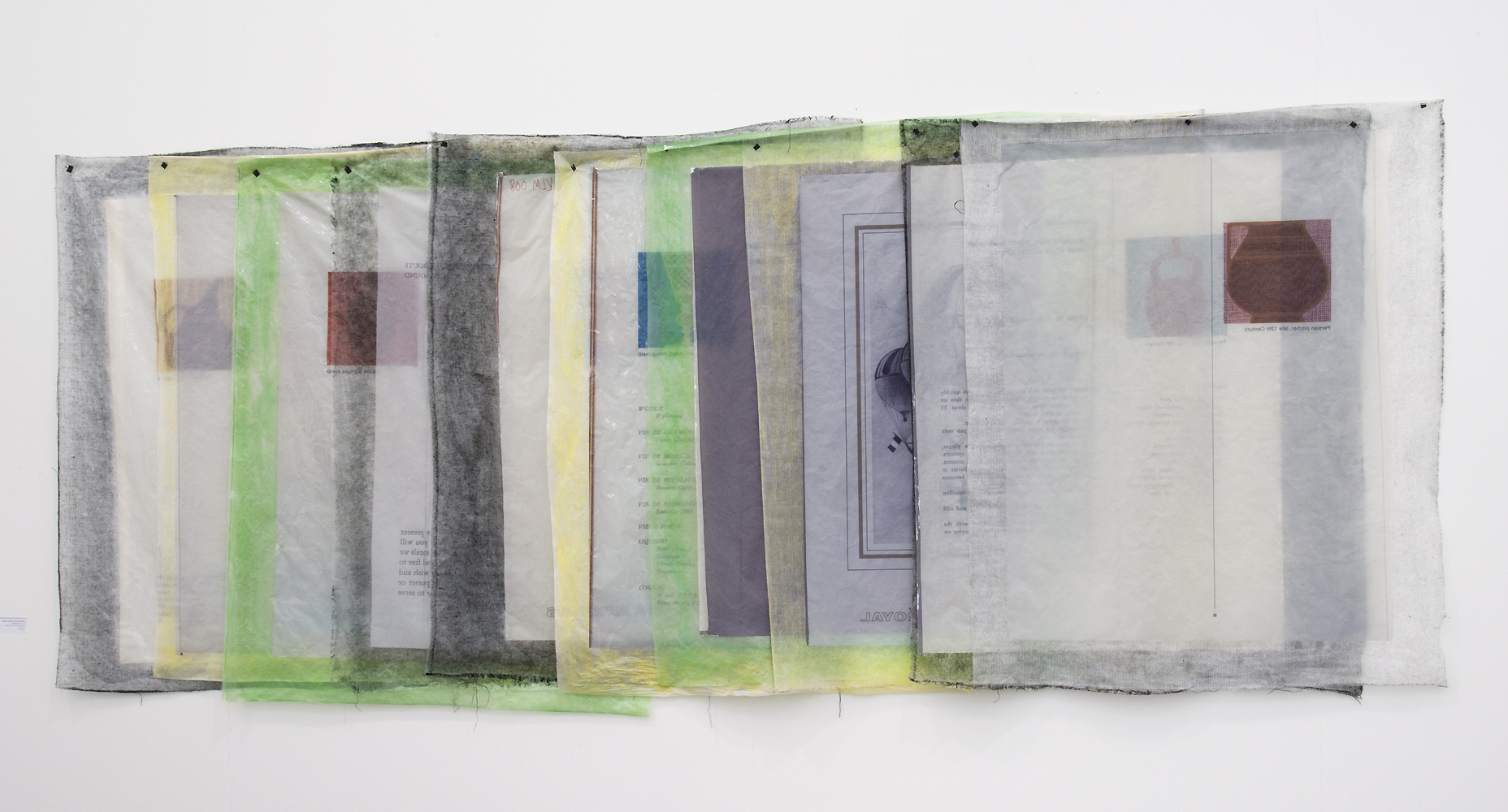 Valerie Snobeck / Catherine Sullivan,  Limited Good 9 , 2013, peeled prints and fabric on plastic, 49 x 122 inch