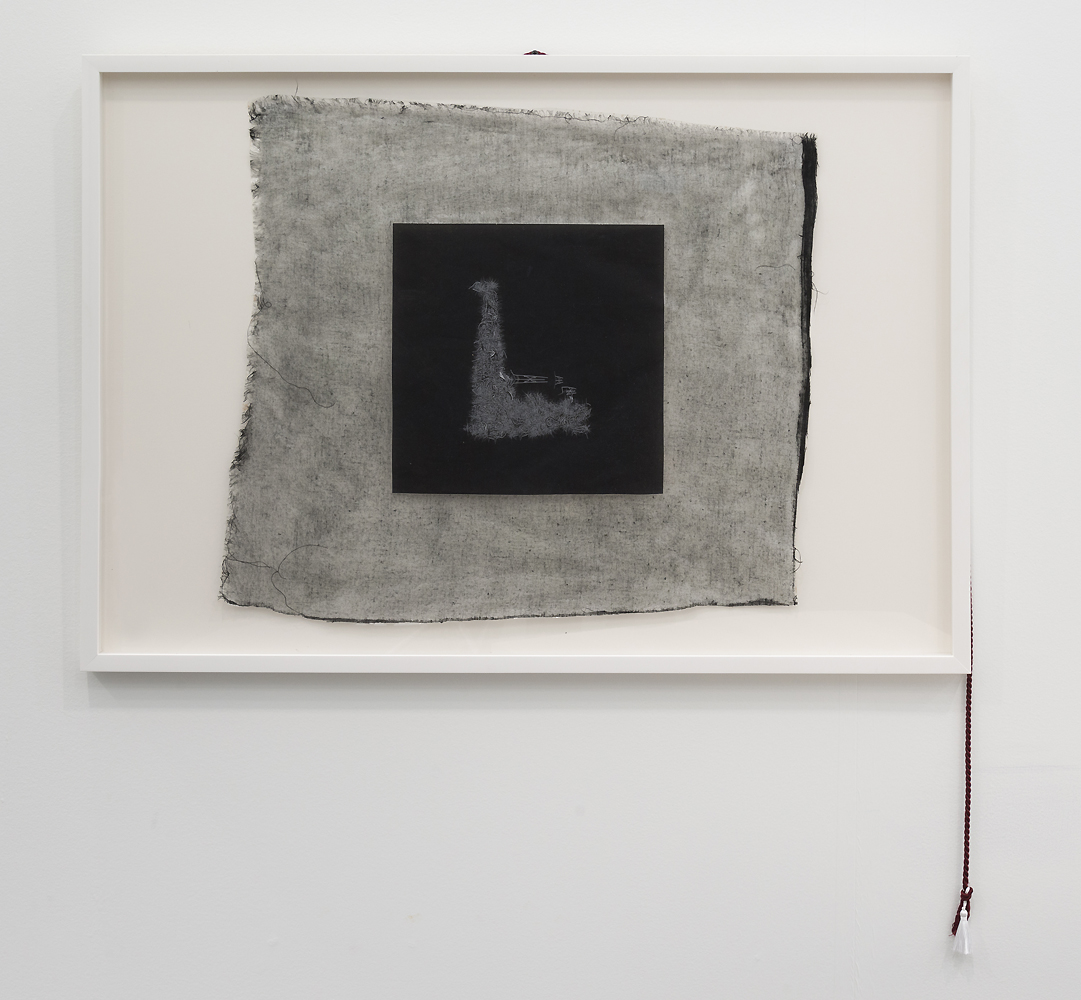 Valerie Snobeck / Catherine Sullivan,  Limited Good 10,  2013, peeled print and linen on plastic, cord, 27.6 x 39.5 inch framed