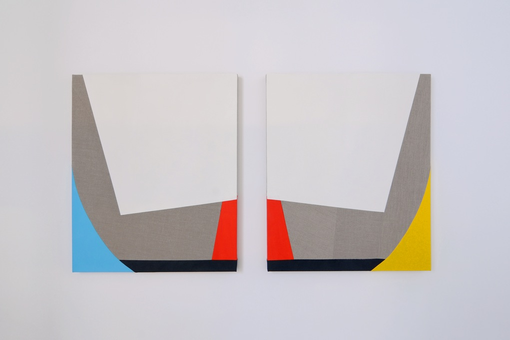 Sarah Crowner,  Untitled (Dyptich) , 2011, oil on canvas and linen, sewn, each panel 76,2 x 91,4 cm ( 30x 36 inches)