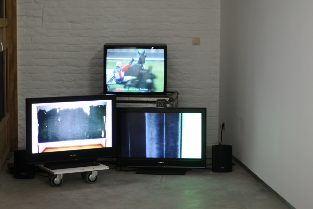 Leigh-Ann Pahapill Manifold (2010). Three channel video installation : Glissando,  2010, 22 min 6s ; Swarms and Heaps , 4 min 5s ; Movement is what is subtracted from duration , 2010 ,17 min 38s