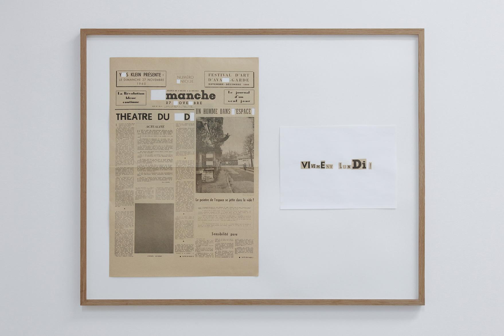 26.01.2018 until 05.05.2018 , Catherine Bastide projects, Marseille, exhibition view, 2018 - Yann Sérandour,  Vivement lundi! , detail view