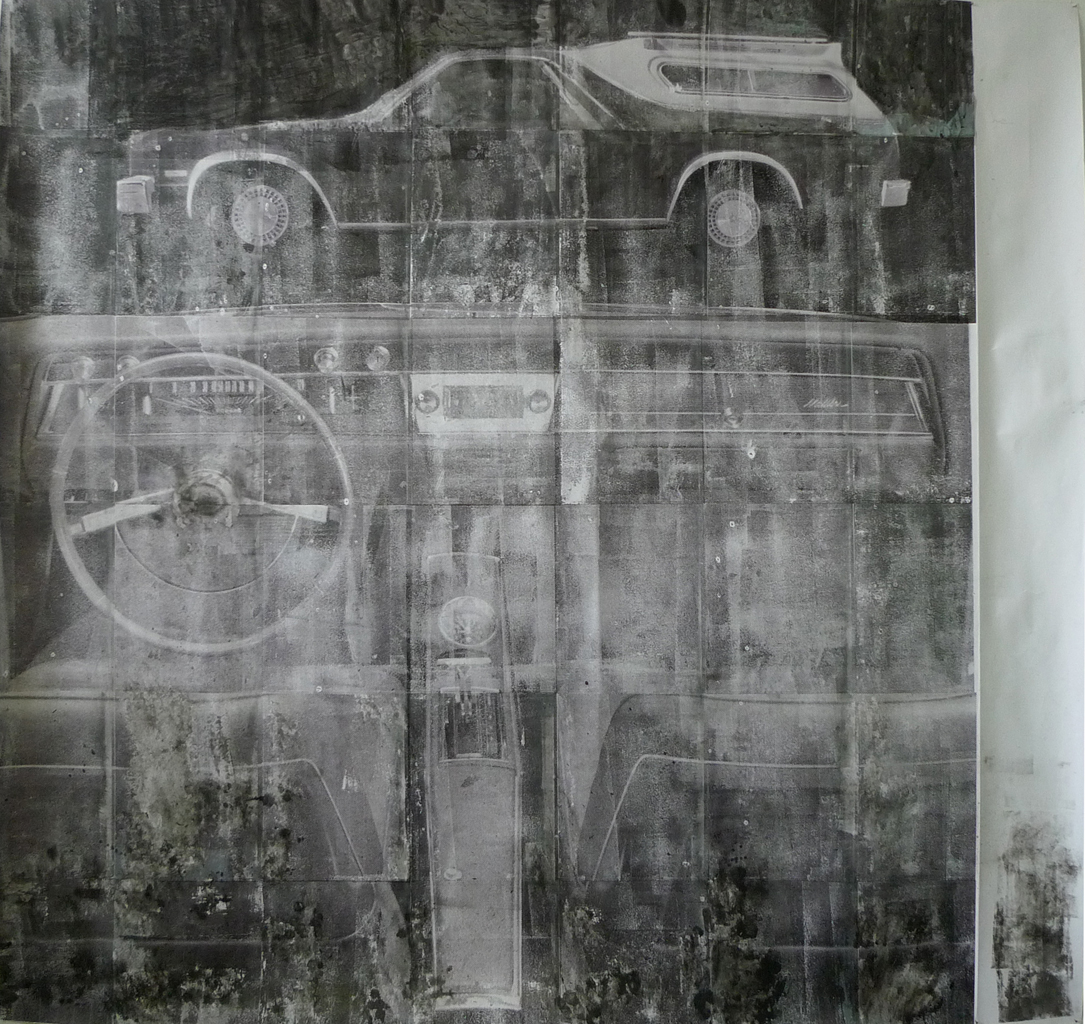 Tom Holmes, Untitled Interior (from El Camino Real), 2011, inkjet transfer, ink, acrylic, paper, 150 x 145 cm