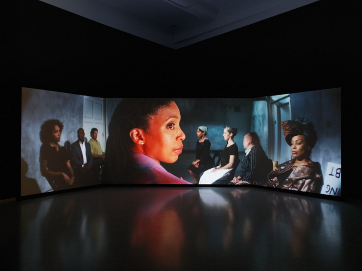 Catherine Sullivan,  The Startled Faction (a sensitivity training)  (2018), anamorphic video, color/sound, 34 minutes, installation view, Metro Pictures, New York
