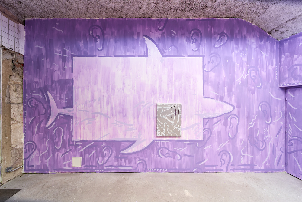 Luís Lázaro Matos,  White Shark Cafe #2,  2018  acrylic on canvas, wall painting  painting dimensions: 80 x 60 cm, installation dimensions variable