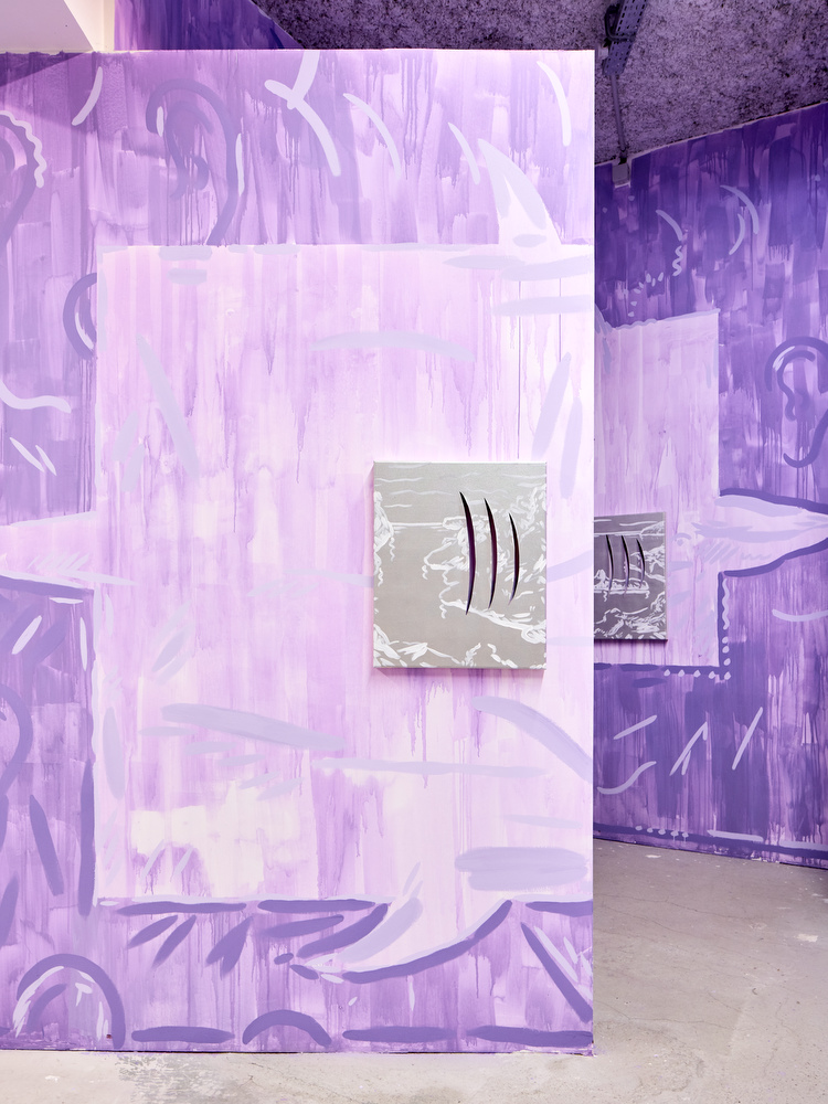 Luís Lázaro Matos, White Shark Cafe #3, 2018  acrylic on canvas, wall painting  painting dimensions: 60 x 50 cm, installation dimensions variable
