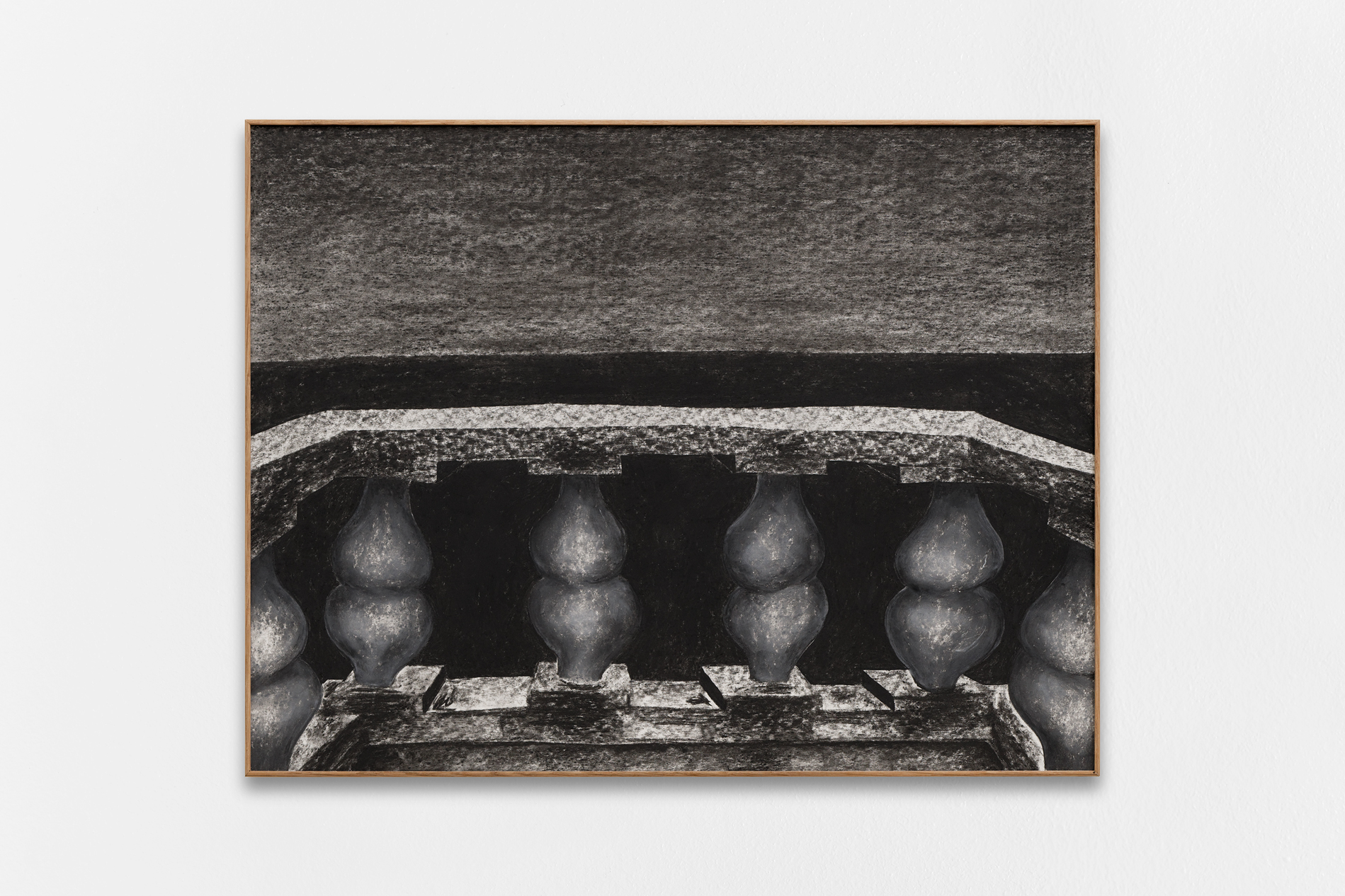 Gijs Milius,  Untitled_1 , 2018, compressed charcoal, dry pastels on paper, framed with oak wood and MDF, 50 x 65 cm