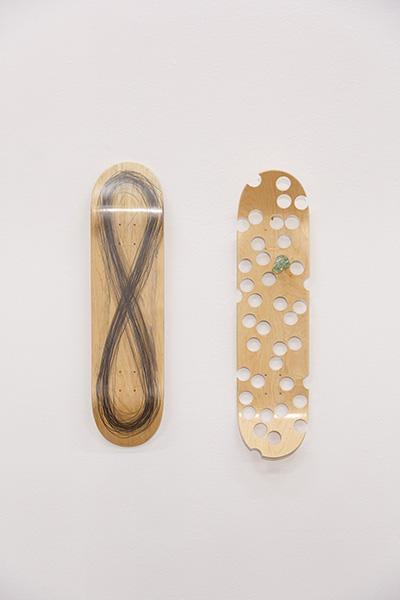 Michel François Untitled 2019 Graphite, glass, skateboard