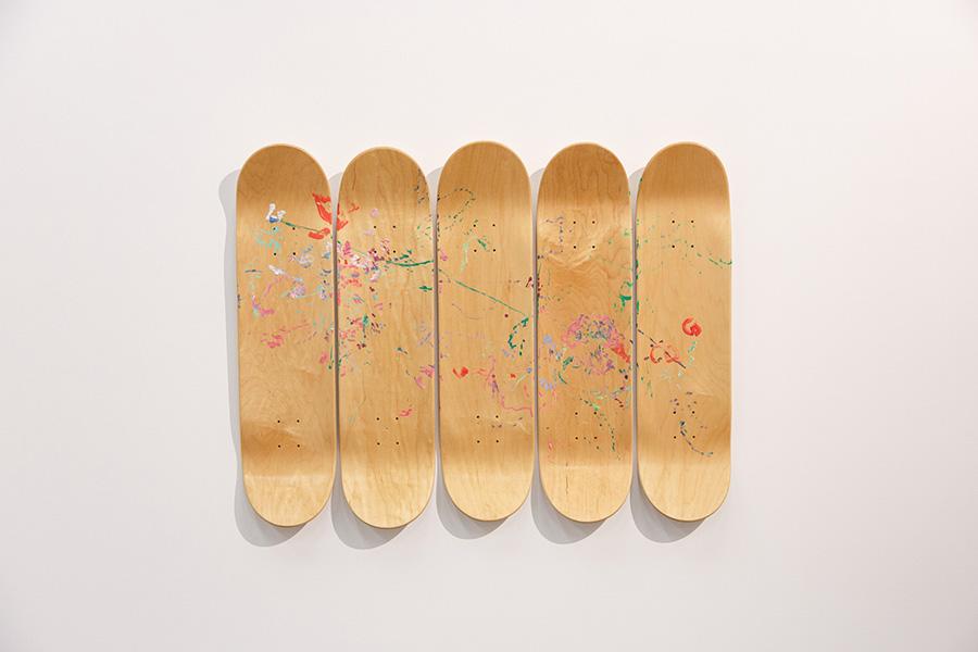 Jana Cordenier Wild Rose 2019 Oil painting on skateboard